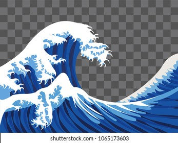 sea wave japan paint style vector