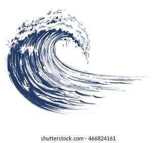 Sea wave sketch. Vector illustration