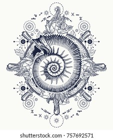 Sea wave storm and ancient ammonites tattoo and t-shirt design. Ocean wave art. Symbol of a storm and calm, silence and noise. Alchemy, medieval religion, occultism signs