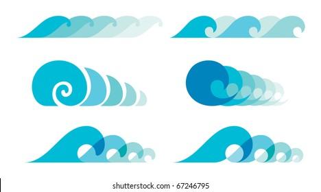 Sea wave symbols set