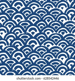 Sea waves batik indigo seamless pattern. Shibori Japanese design of fabric