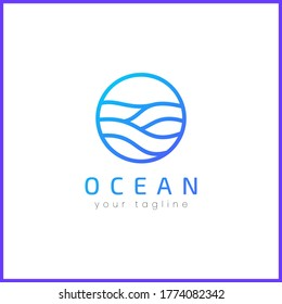 Sea waves in a circle. Simple and modern logo design.