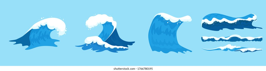 Sea waves collection. Set of blue ocean waves with white foam in cartoon style