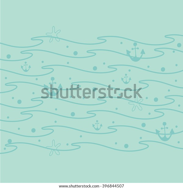 Sea Waves Cute Vector Background Ocean Stock Vector Royalty Free