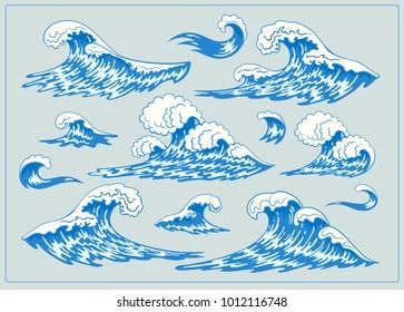 Sea waves. Design set. Hand drawn , Vector vintage illustration. Isolated on color background.