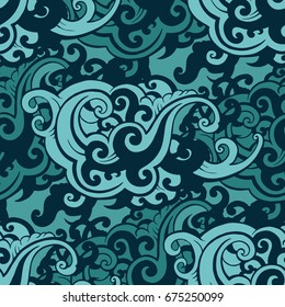 Sea waves. Hand drawn vector illustration.
