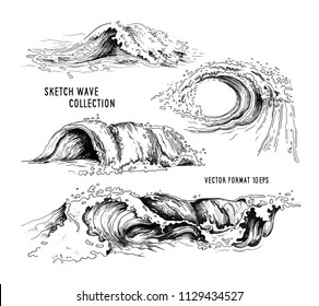 Sea waves handdrawn sketch. Sketch ocean waves. Vintage hand drawn ocean tidal storm waves isolated for surfing and seascape, vector illustration