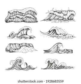 Sea waves handdrawn sketch set. Sketch ocean waves collection. Vintage hand drawn ocean tidal storm waves isolated for surfing and seascape, vector illustration