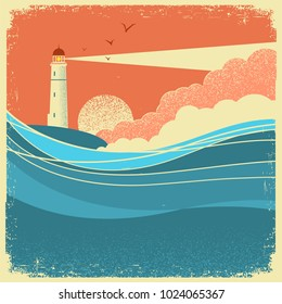 Sea waves with lighthouse.Vintage nature poster of seascape on paper background for text
