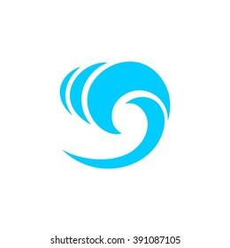 Sea waves logo design template icon.