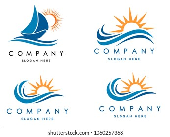 sea waves logo set, sun waves logo set, whale waves logo vector