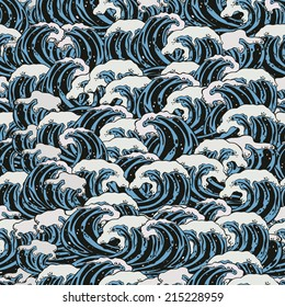 Sea waves. Old traditional japanese art. Vintage style. Ocean during a storm. Background with a pattern of water.