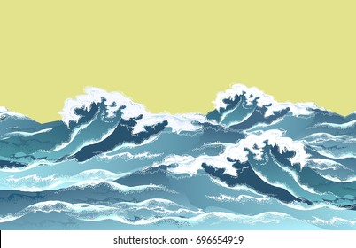 Sea waves in oriental vintage ukiyo-e style. Hand drawn realistic vector illustration on white background.
