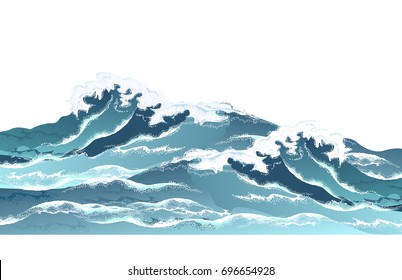 Sea waves in oriental vintage ukiyo-e style. Hand drawn realistic vector illustration on white background