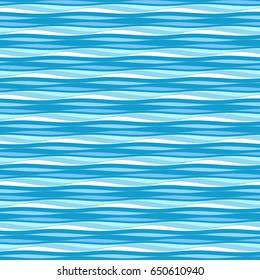 Sea waves pattern. Ripple water wavy background. Vector seamless  vintage light blue wallpaper.