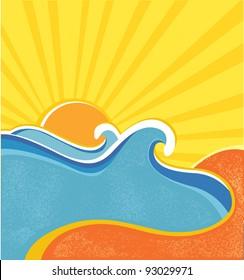 Sea waves poster. Vector illustration of sea landscape in hot summer day