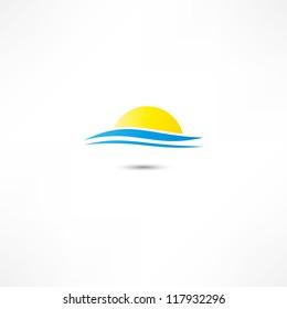 sea waves and rising sun vector illustration