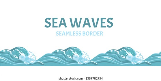 Sea waves seamless pattern, border. Vector illustration of blue ocean water in cartoon flat style.
