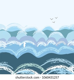 Sea waves seamless pattern, vector graphic illustration