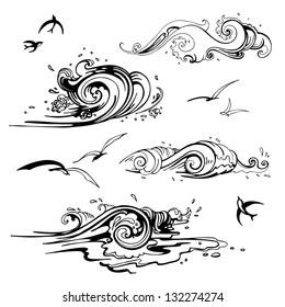 Sea waves set. Hand drawn vector illustration. Design element.