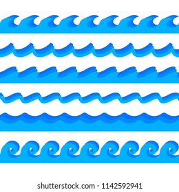 Sea waves. Set of seamlessly horizontally repeating vector illustrations. Stylized Greek ornament. Modern style. Fresh water flow concept. Blue wavy smooth shapes. Abstract design.