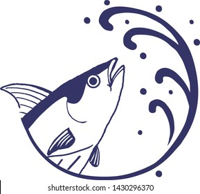 Sea Waves and  and Skipjack tuna vector illustration on white background.