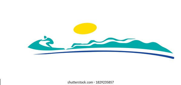 Sea. Waves. Speed. A man on a jet bike. Icon. Pictogram. Logo. Vector image for logo or illustrations.
