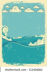 Sea waves in sun day. Vintage abstract image on grunge old paper