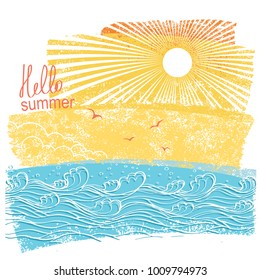 sea waves and sun. Vector illustration of sea landscape background with text