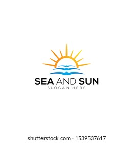 Sea waves and sun vector logo templates on a white background
