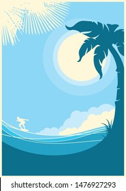 Sea waves tropical island. Vector blue landscape background for text