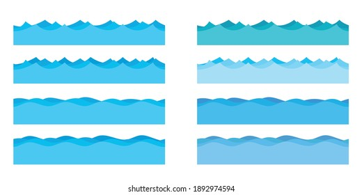 Sea waves vector design illustration isolated on white background