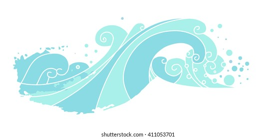 Sea waves. Vector hand drawn illustration. Element for your design