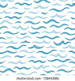 Sea Waves Vector Seamless pattern. Hand drawn Doodle Wave. Cartoon Sea or Ocean White Blue Background