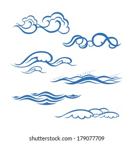 Sea waves vector set