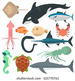 Sea wild animals vector illustration. Different fishes and other sea and ocean animals: whale, turtle, dolphin, squid and fish sword