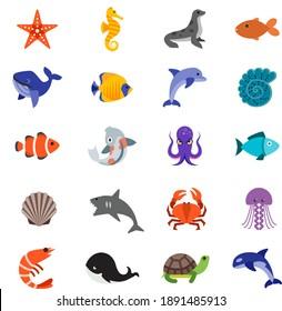 Sea wildlife animals icon set starfish, seahorse, seal, sea lion, golden fish, shark, dolphin, seashell, octopus, red fish, bluefish, crab, jellyfish, lobster, whale, tortoise, turtle,