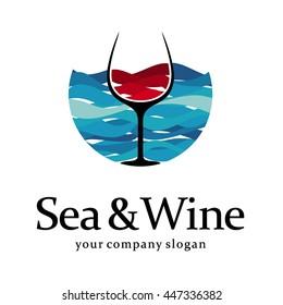 Sea and wine logo template