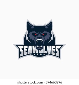 Sea wolf mascot for a sport team. Vector illustration.