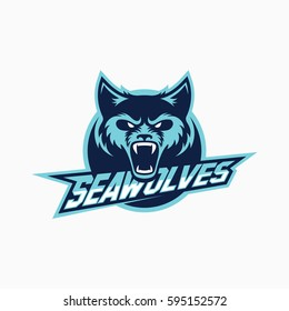 Sea wolf mascot for a sport team on a dark background. Vector illustration.