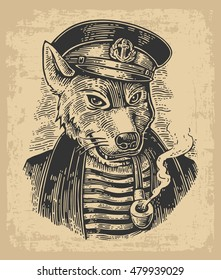 Sea wolf with pipe. Vector engraving vintage illustrations. Isolated on beige background. For tattoo, poster, web and label