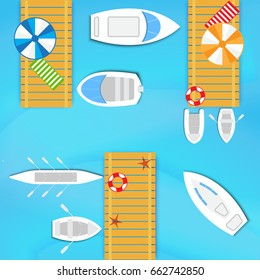 Sea wooden pier for boats and yachts. Top view design for flyers and brochures, postcards, banners, posters, broadsheets. Vector illustration.