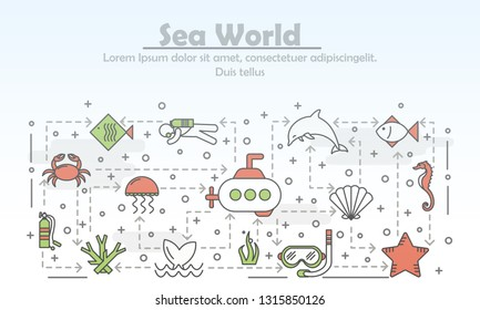 Sea world advertising vector poster banner template. Jellyfish fish dolphin, whale tail, seahorse crab corals seashell submarine diver etc. Thin line art flat icons for web and printed materials.