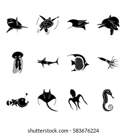 Sea world creatures and fish, sign silhouette icons set on background