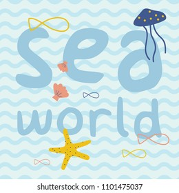 Sea world with fish, starfish, jellyfish, shell print poster. A playful, modern, and flexible print for brand who has cute and fun style. Happy, bright, and nautical mood.