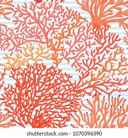 Sea world seamless pattern, background with corals on blue and white stripes background. Stock vectorillustration.