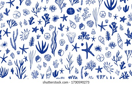 Sea world seamless pattern, background with sea shells and marine plants, summer time design
