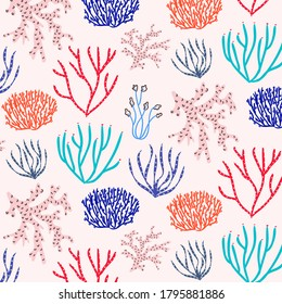Sea world seamless pattern, background with corals and white stripes background. Stock vector illustration.