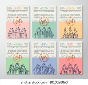 Seafood Abstract Vector Packaging Design or Labels Set. Modern Typography Banners, Hand Drawn Tuna, Salmon, Sturgeon Fish Silhouettes Color Paper Background Layouts Collection. Isolated.