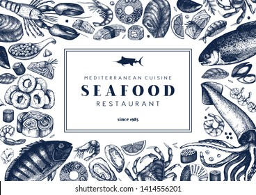 Seafood background. With hand drawn fresh fish, lobster, crab, oyster, mussel, squid, shrimps and sushi illustrations. Vintage menu or flyer design with sea food sketch. Vector food twmplate.
